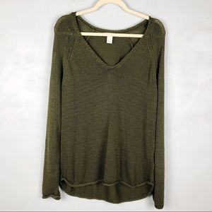 H&M Green Chunky Knit V-Neck Slouchy Sweater